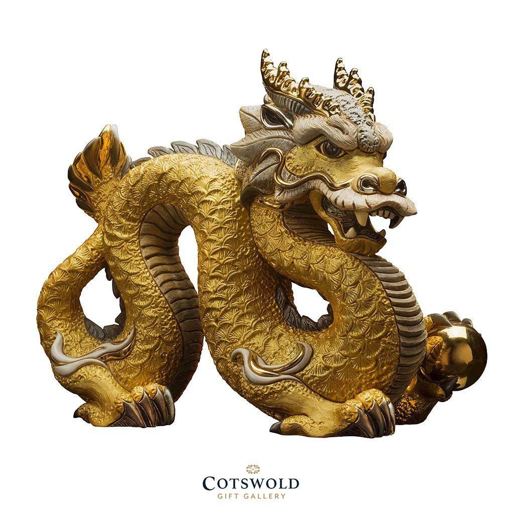 A De Rosa ceramic gold Chinese Dragon