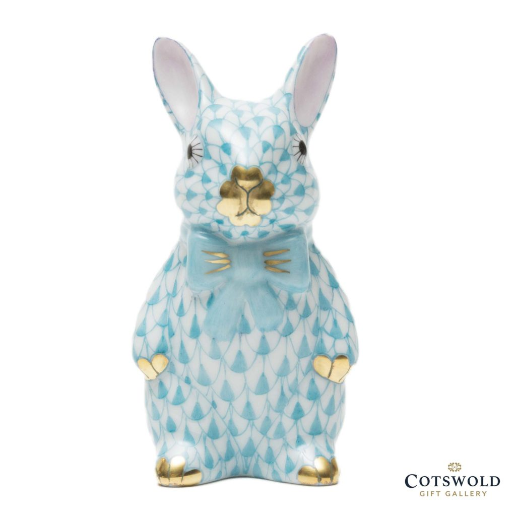 Herend Porcelain Bowtie Bunny Turquoise 1 1024x1024