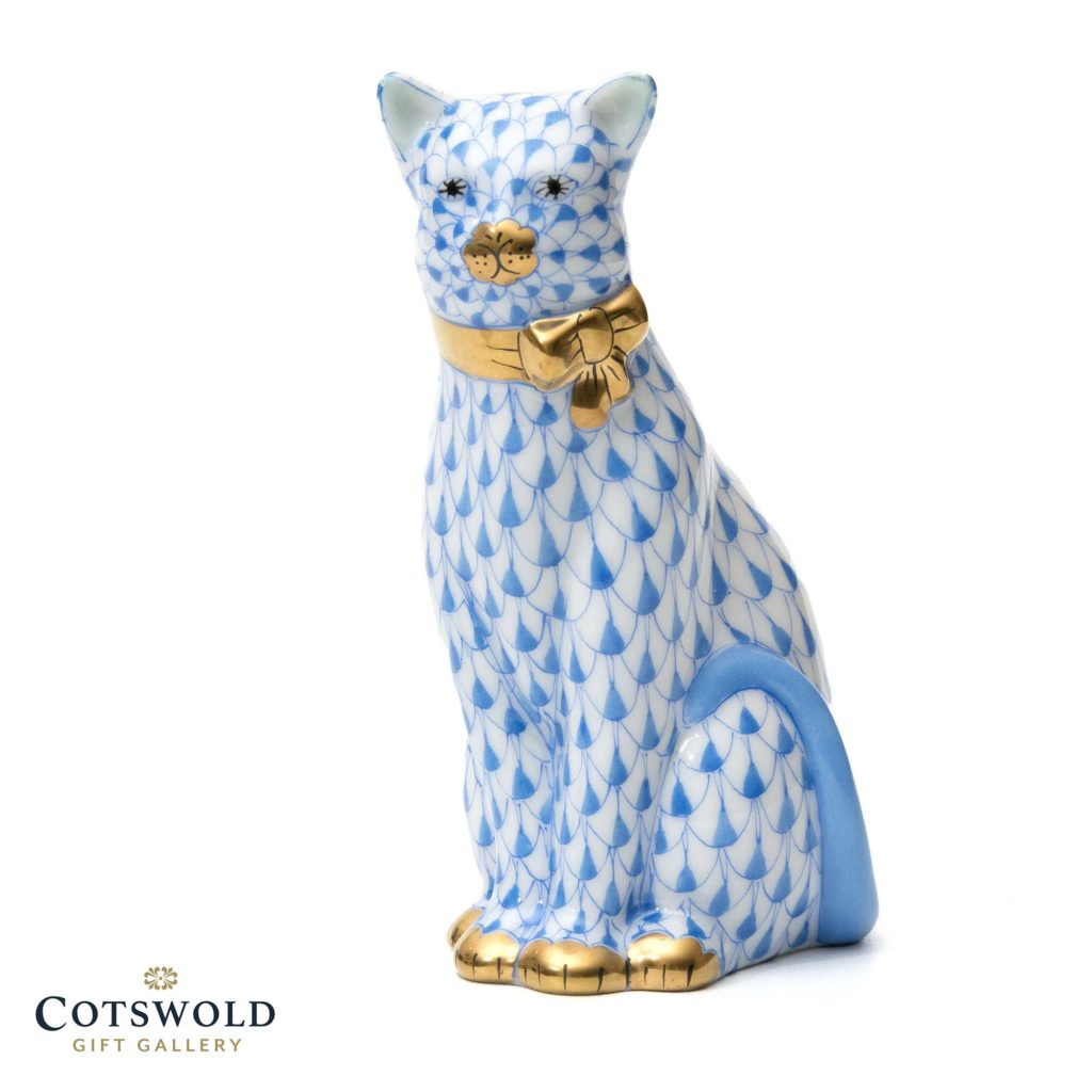 Herend Cat With Ribbon Blue 1 1024x1024