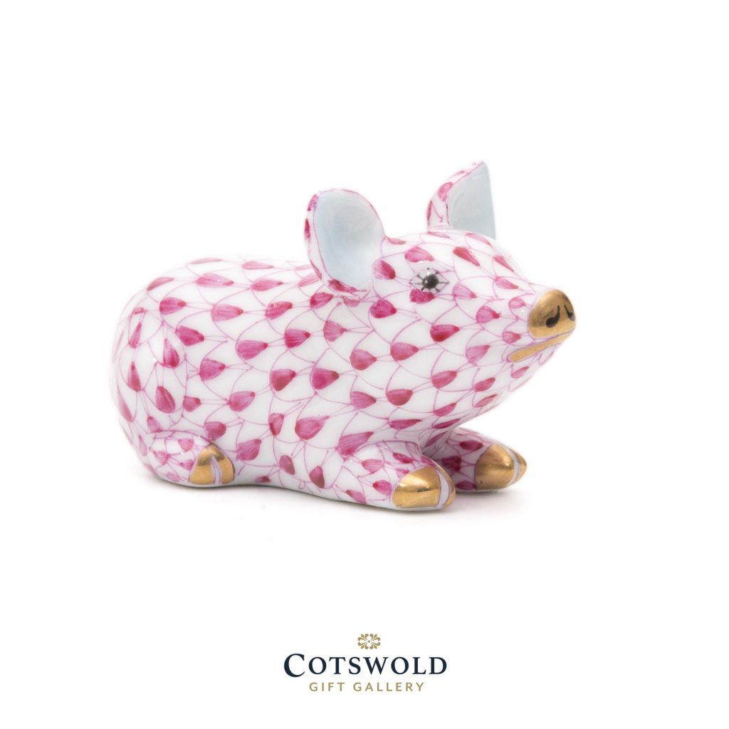 Herend Porcelain Piglet Miniature Pink 1 1024x1024