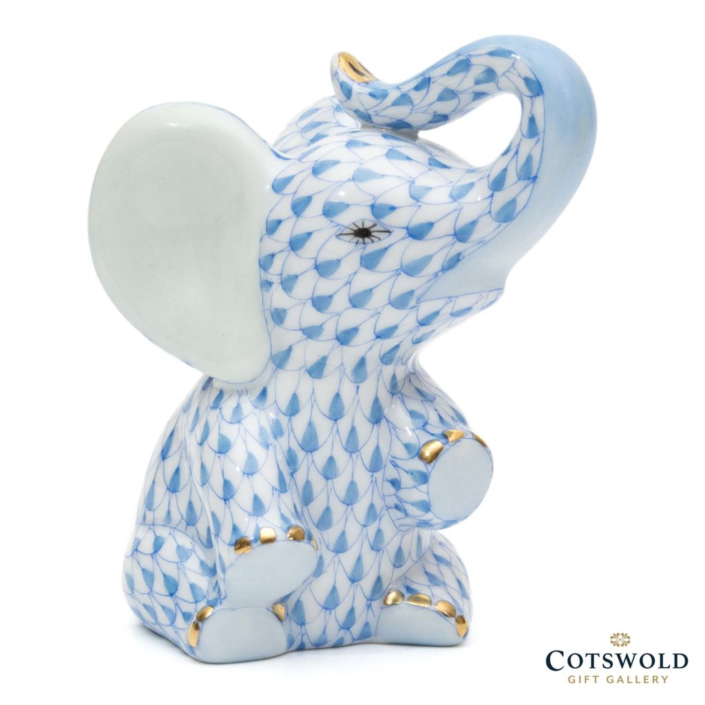 Herend Porcelain Baby Elephant Blue 2 1024x1024