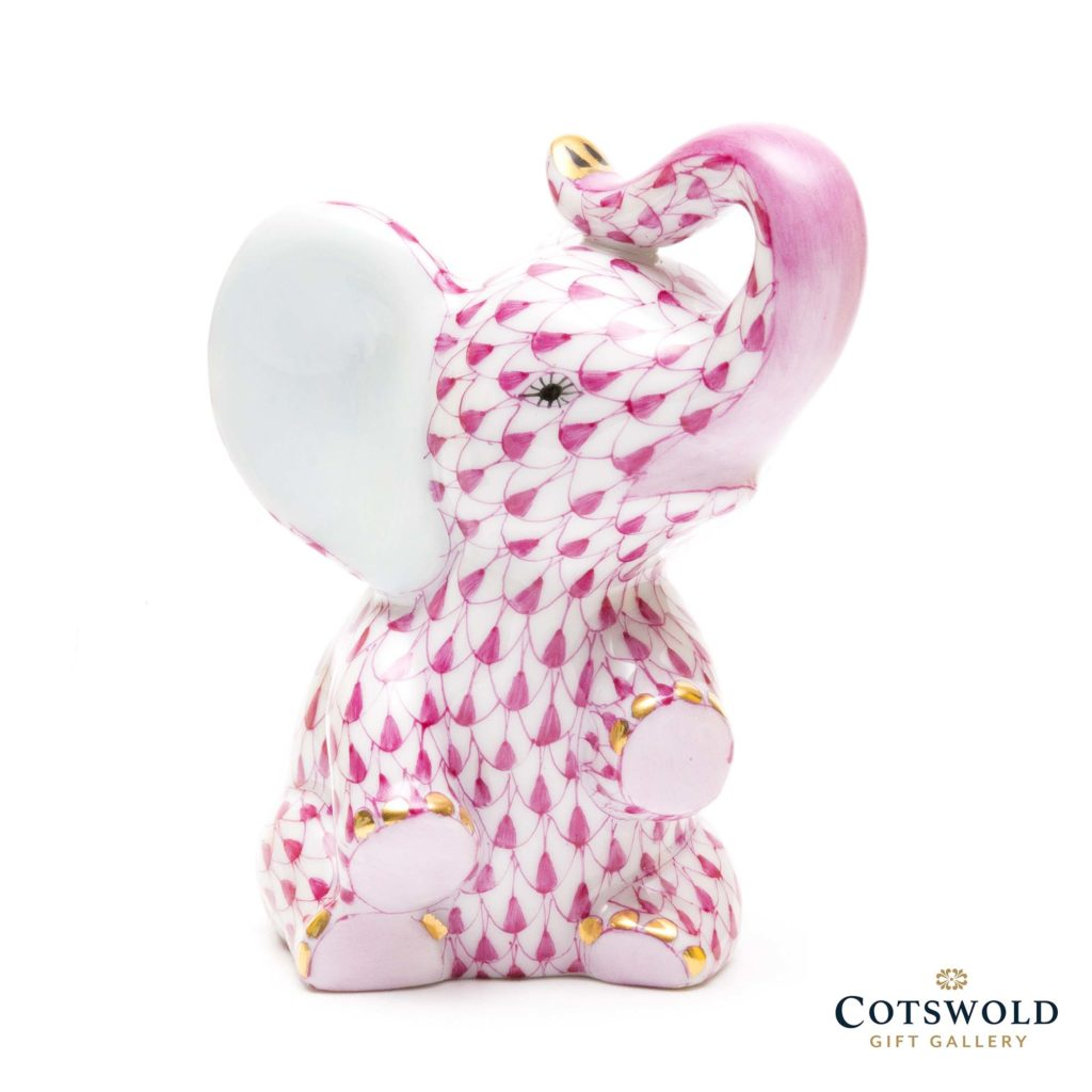 Herend Porcelain Baby Elephant Pink 1 1024x1024