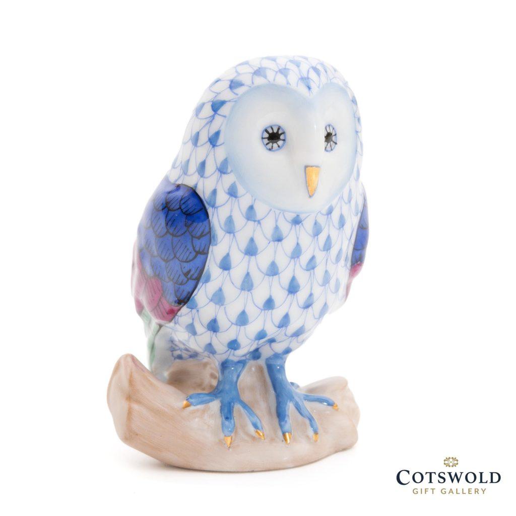 Herend Porcelain Barn Owl Blue 1 1024x1024