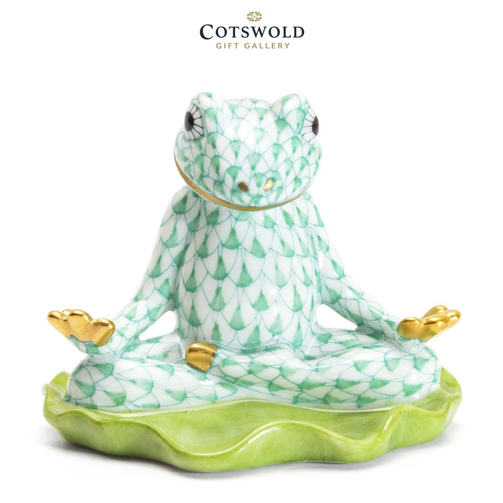 Herend Porcelain Yoga Frog Green 1 1024x1024