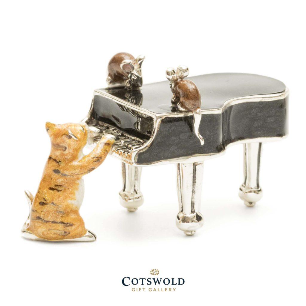 Saturno Silver Animals Cat On Piano 13051 1 1024x1024