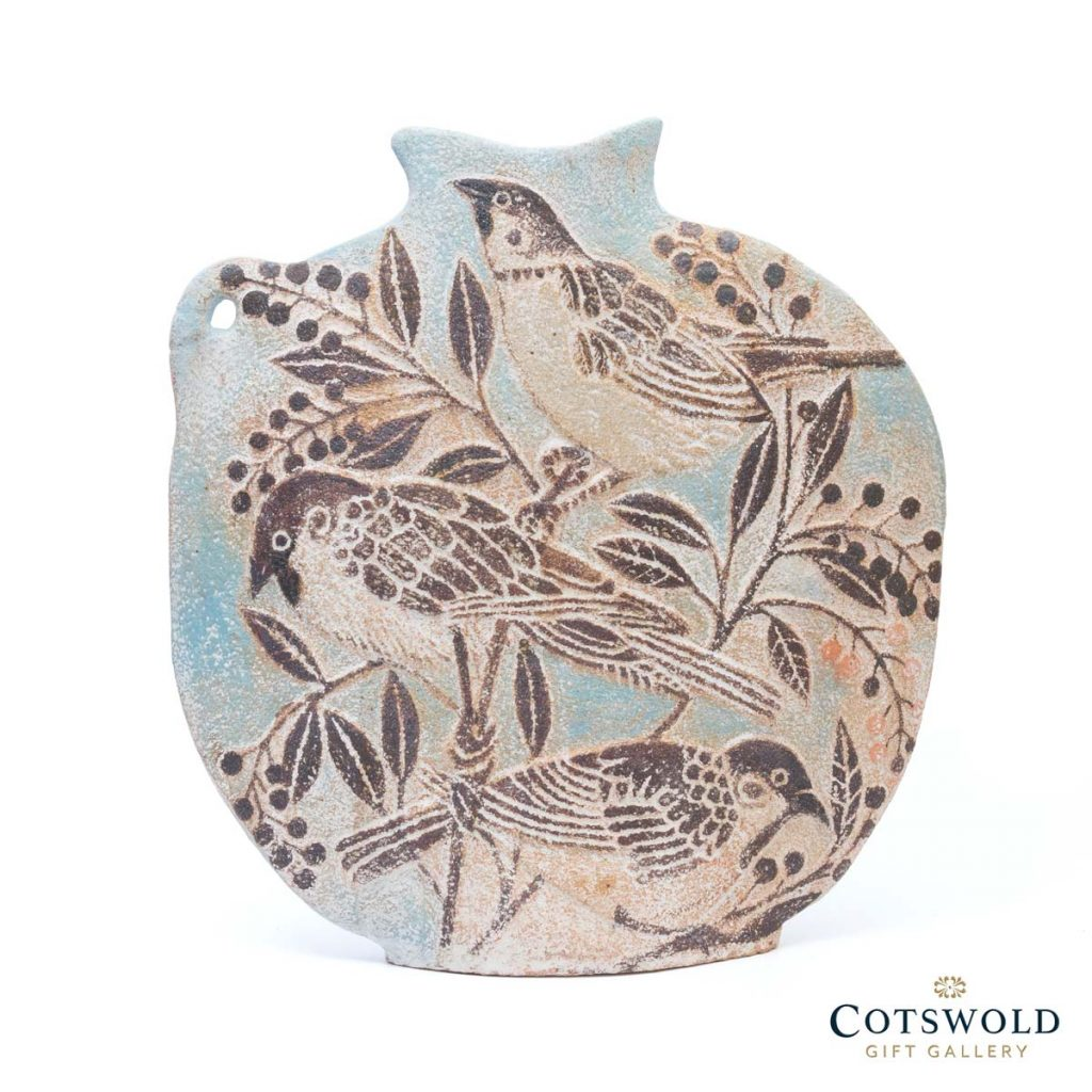 Michele Cowmeadow Hare And Sparrows Slab Vase 1 1024x1024