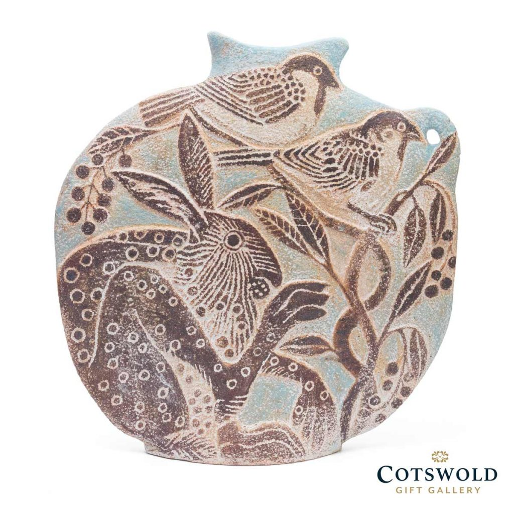 Michele Cowmeadow Hare And Sparrows Slab Vase 2 1024x1024