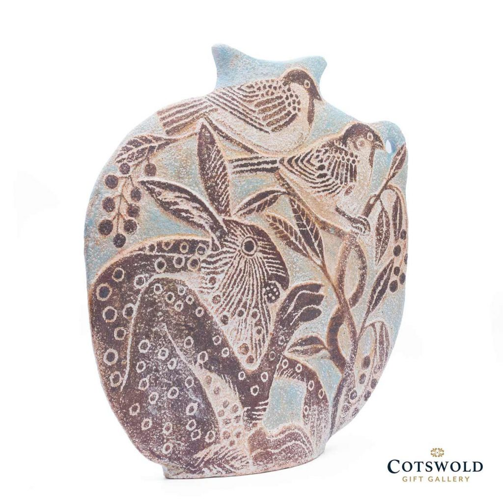 Michele Cowmeadow Hare And Sparrows Slab Vase 3 1024x1024