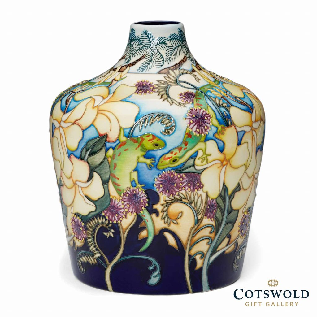 Moorcroft Pottery A Second Calling Frangipani And Friends Vase 164 9 01 1024x1024