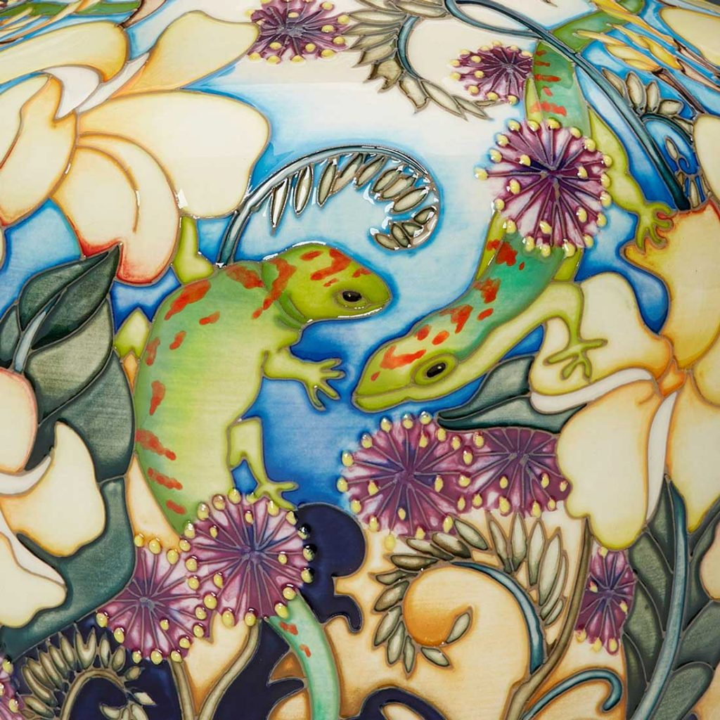 Moorcroft Pottery A Second Calling Frangipani And Friends Vase Detail 1024x1024