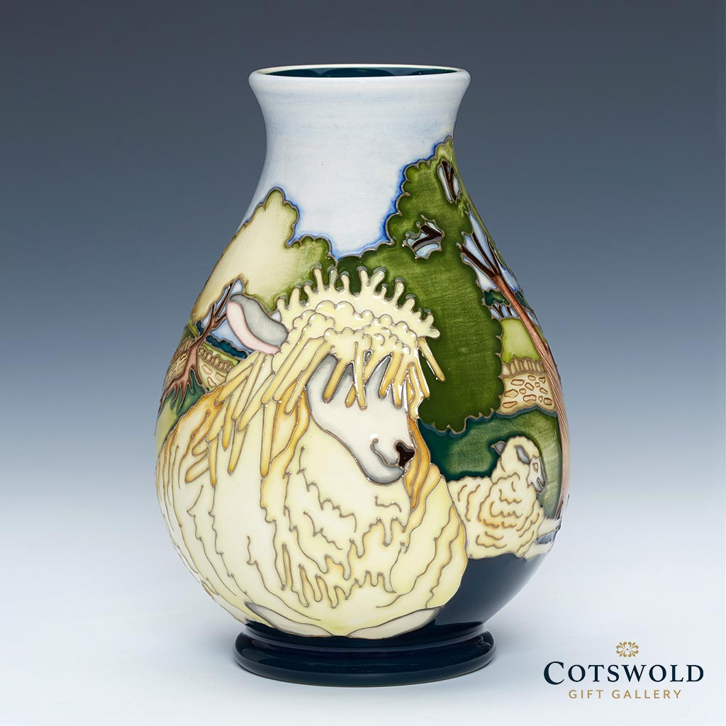 Moorcroft Pottery A Second Calling The Flock Vase 7 5 02